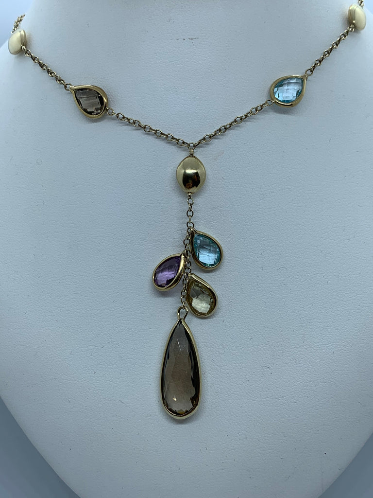 9ct Gold Bead and Teardrop Multistone Necklet