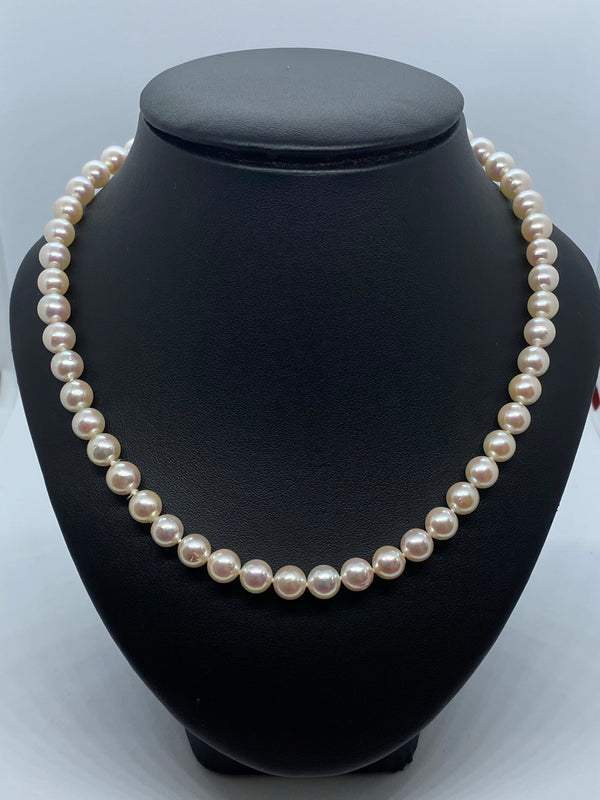 Long cultured pearl rope necklet