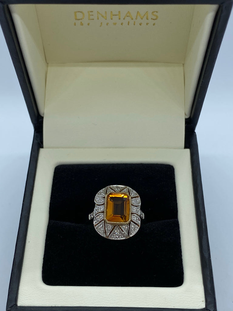 Citrine and diamond cluster ring 9ct yellow gold