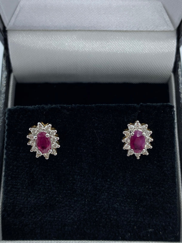 Ruby and diamond cluster earrings 18ct gold