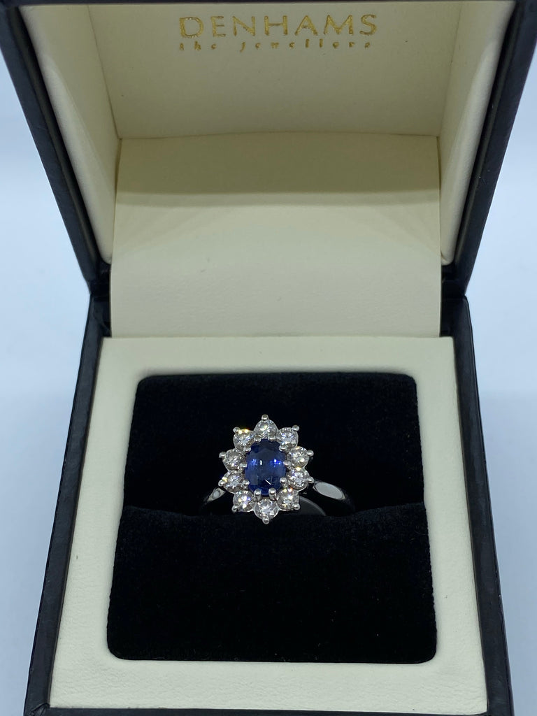 Sapphire and diamond cluster ring platinum
