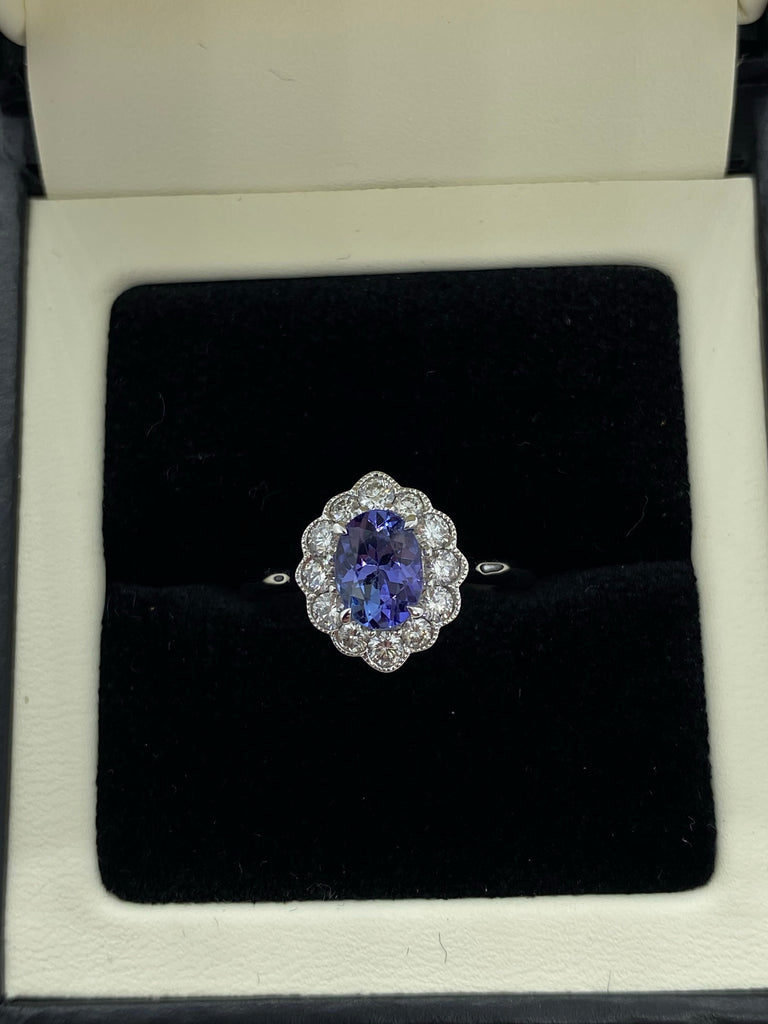 Tanzanite and diamond cluster ring 9ct white gold
