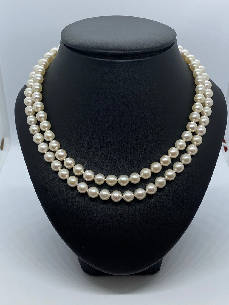 Two row cultured pearl necklace