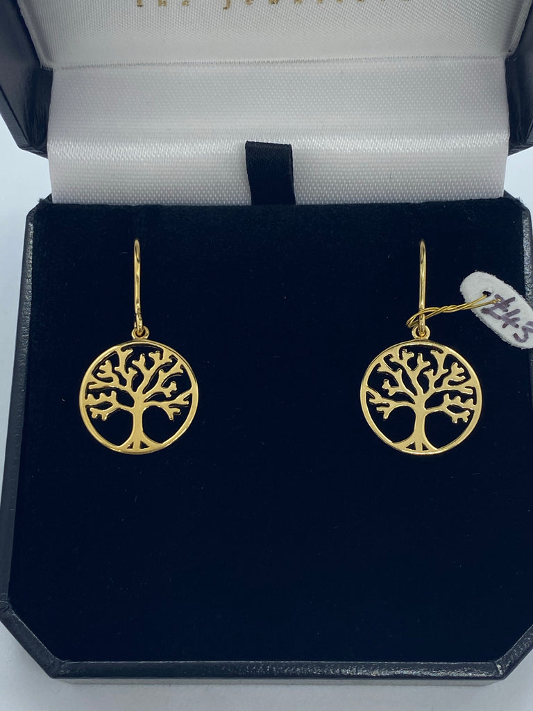 9ct gold plated silver tree drop earrings