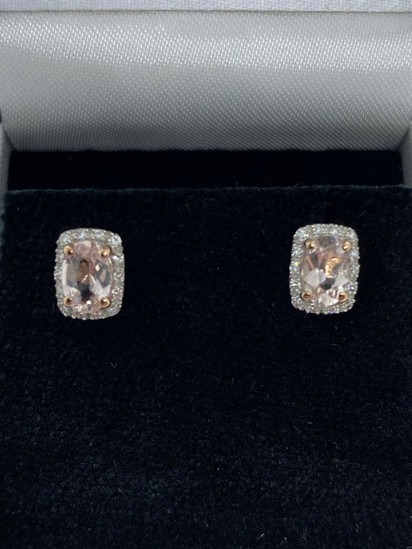 Pink morganite and diamond earrings 9ct rose gold