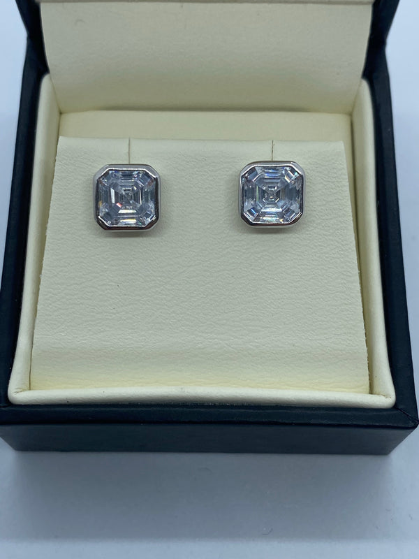 Silver and cubic zirconia stud earrings