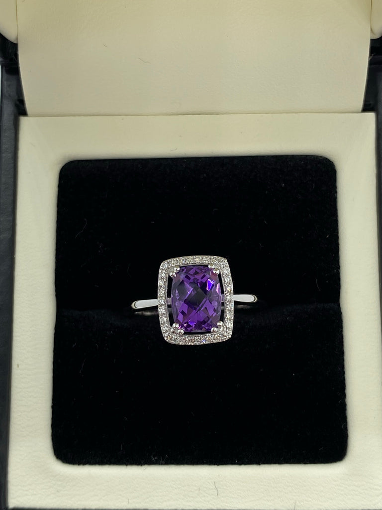 Amethyst and diamond cluster ring 9ct gold