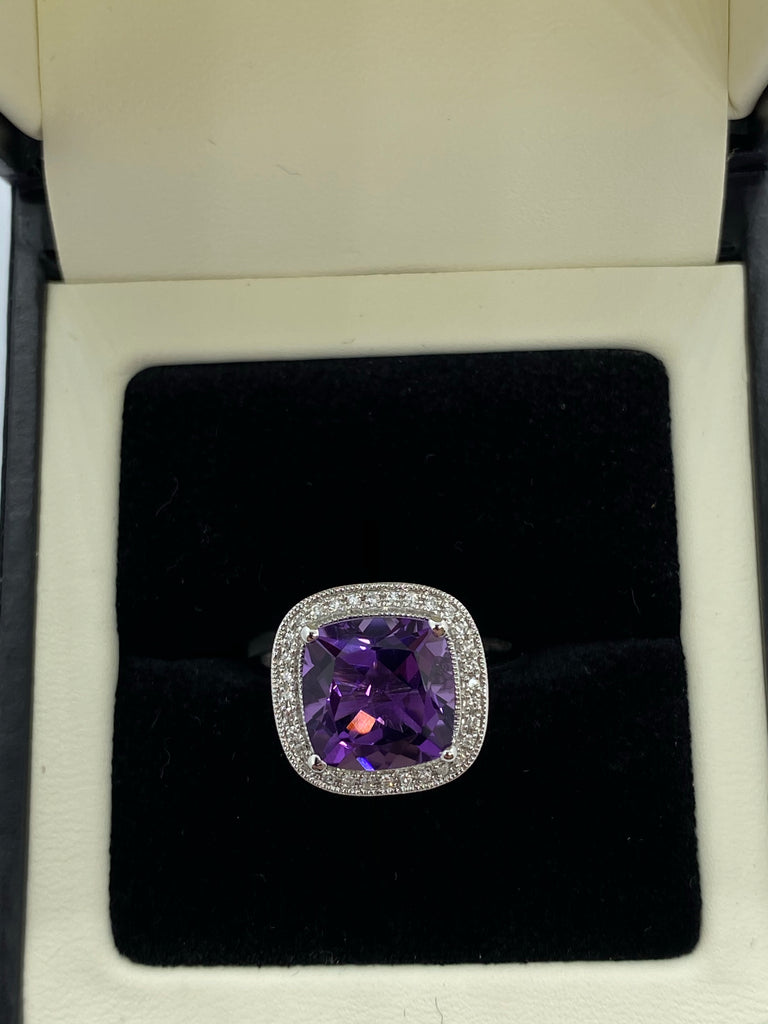 Amethyst and diamond cluster ring 9ct white gold