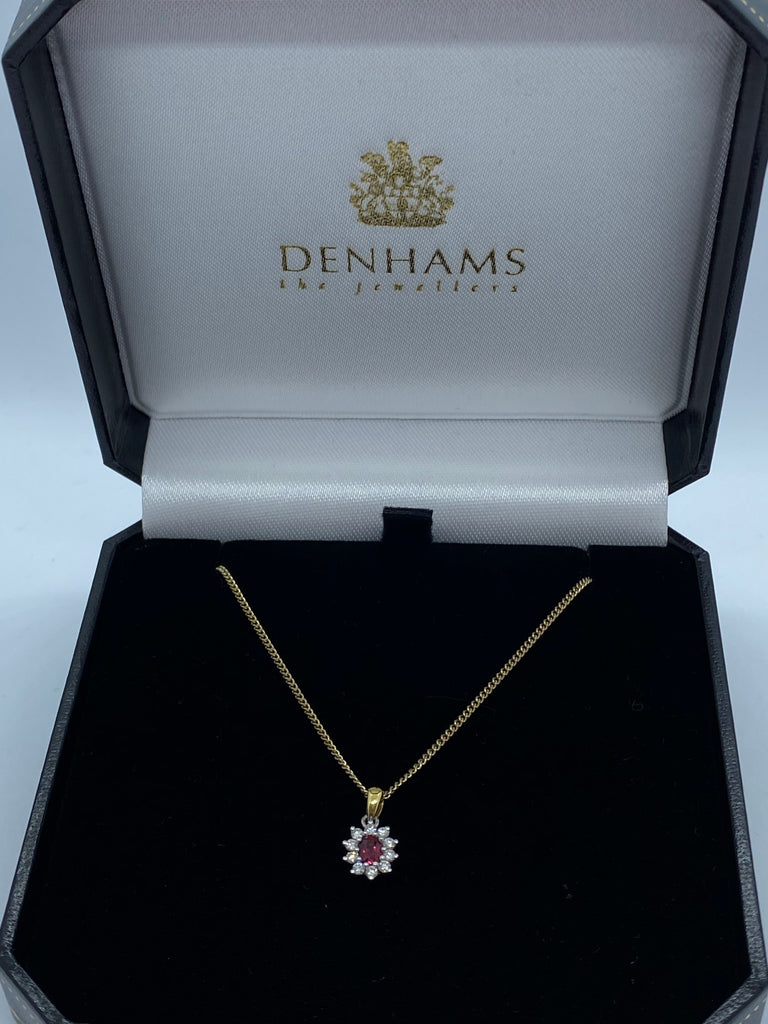 Ruby and diamond cluster pendant 18ct yellow gold