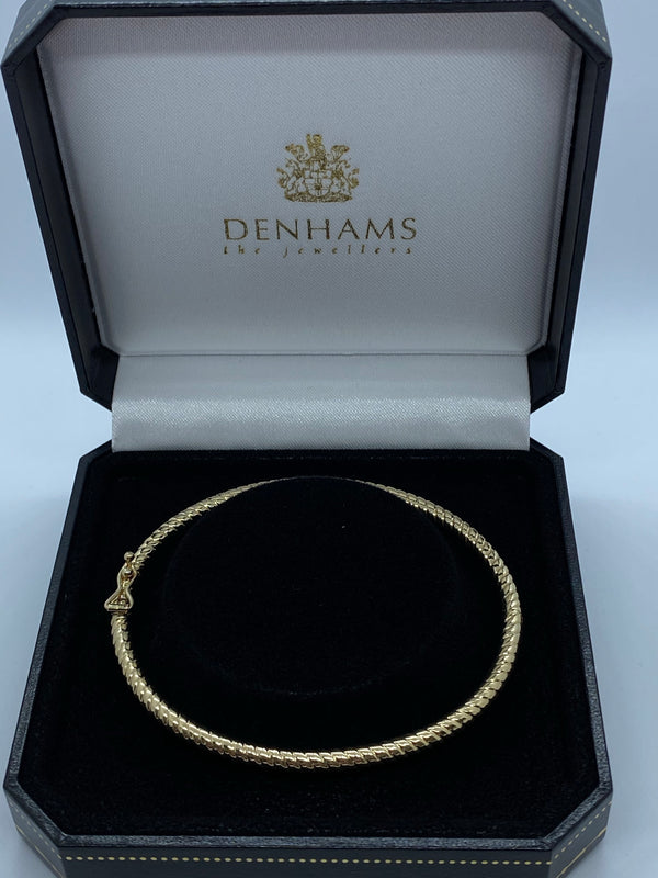 9ct yellow gold solid twist bangle