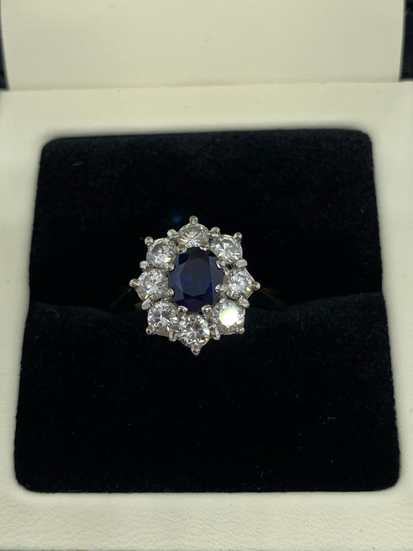 Sapphire and diamond cluster ring 18ct yellow gold shank