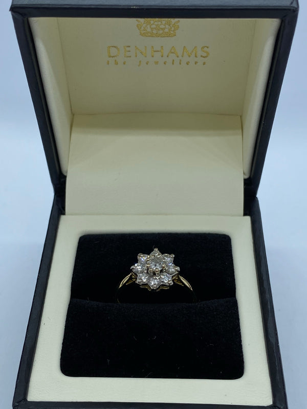 Diamond cluster ring 18ct yellow gold shank