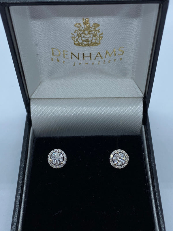 Single stone diamond earrings 18ct white gold