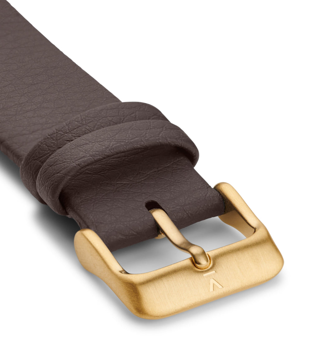 BROWN WITH BRUSHED GOLD BUCKLE | 20MM