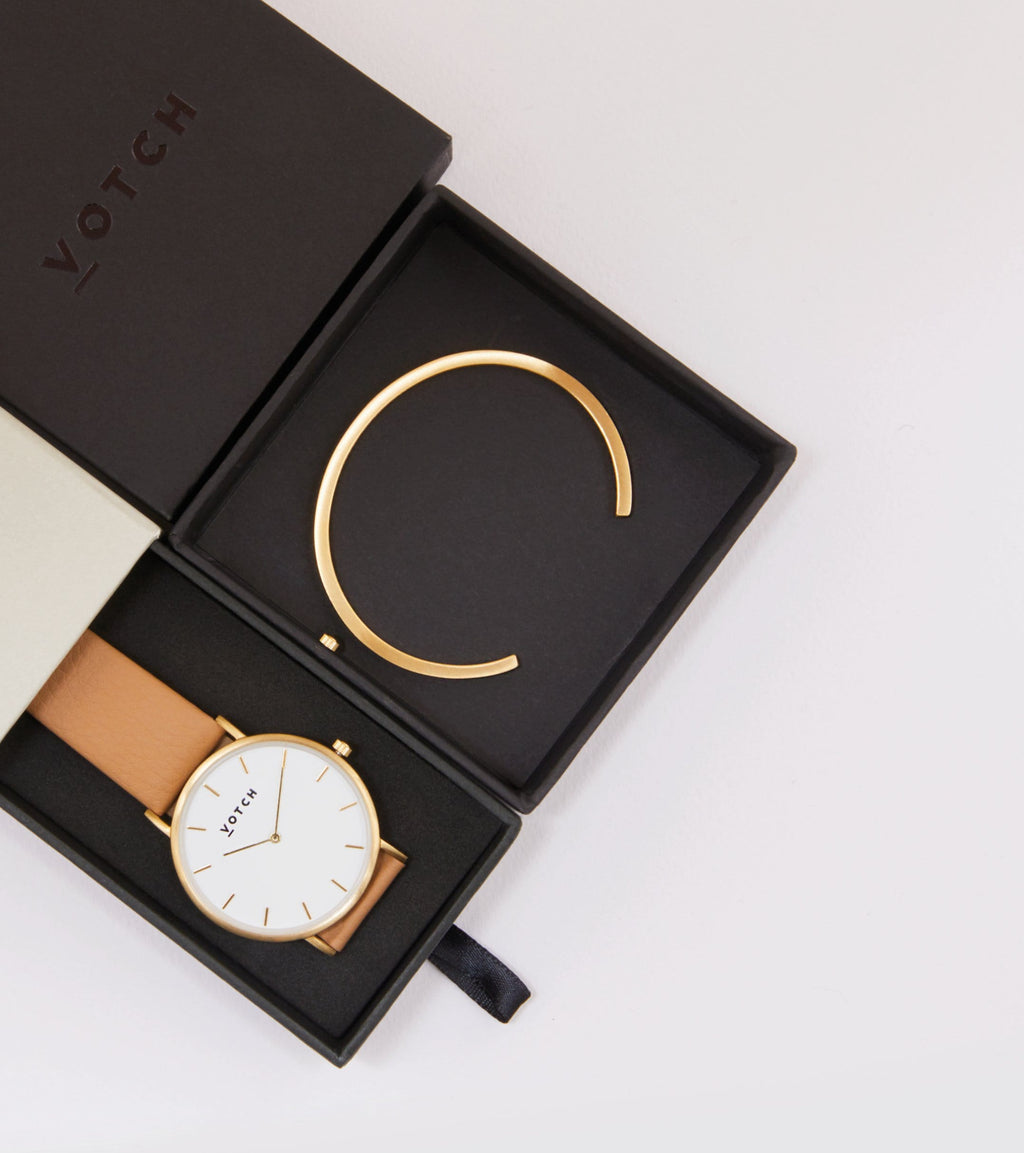 Gold Bangle with Gold & Tan Classic Watch
