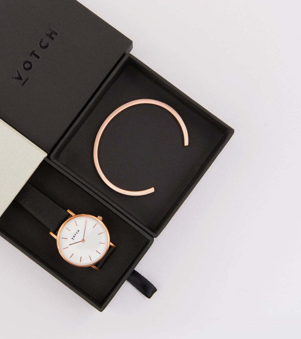 Rose Gold Bangle with Rose Gold & Black Petite Watch