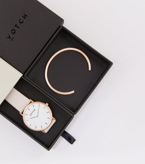 Rose Gold Bangle with Rose Gold & Light Grey Classic Watch