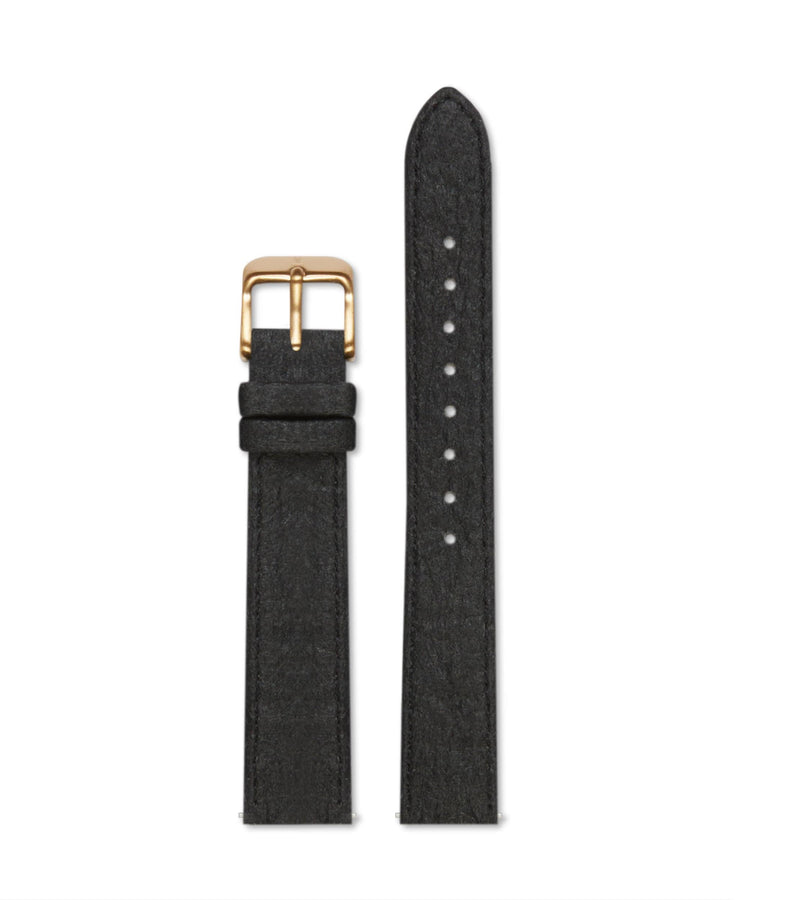 Piñatex Black with brushed gold buckle | 16mm