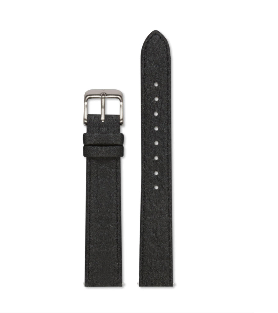 Piñatex Black with brushed silver buckle | 16mm