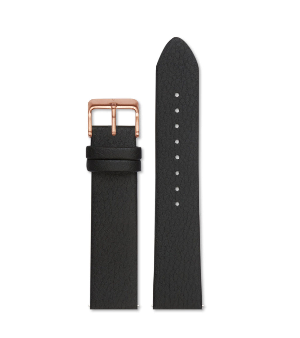 Black with brushed rose gold buckle | 20mm