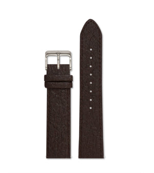 Piñatex Dark Brown with brushed silver buckle | 20mm