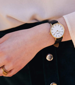 Gold Bangle with Gold & Black Petite Watch