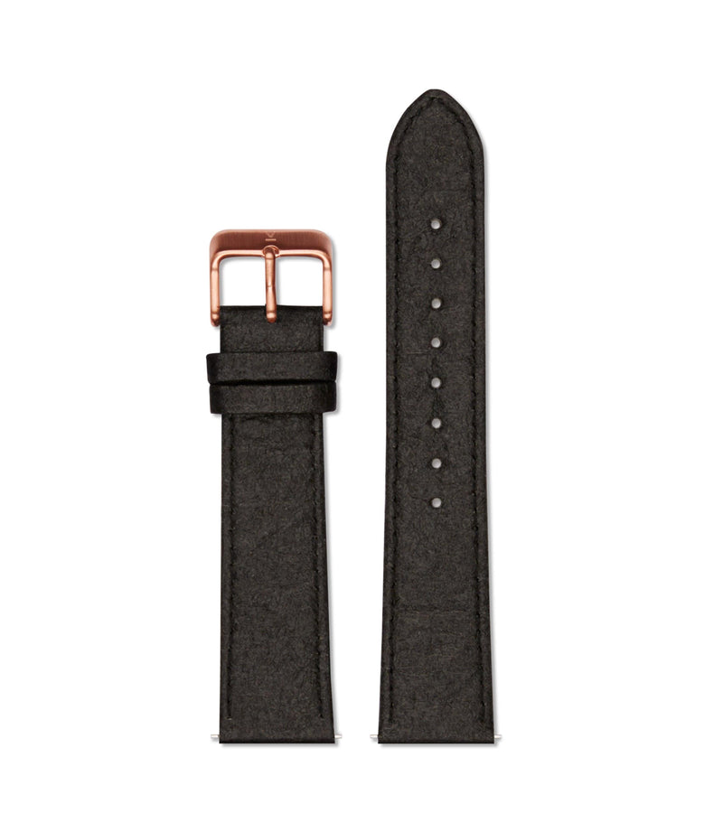 Piñatex Black with brushed rose gold buckle | 20mm