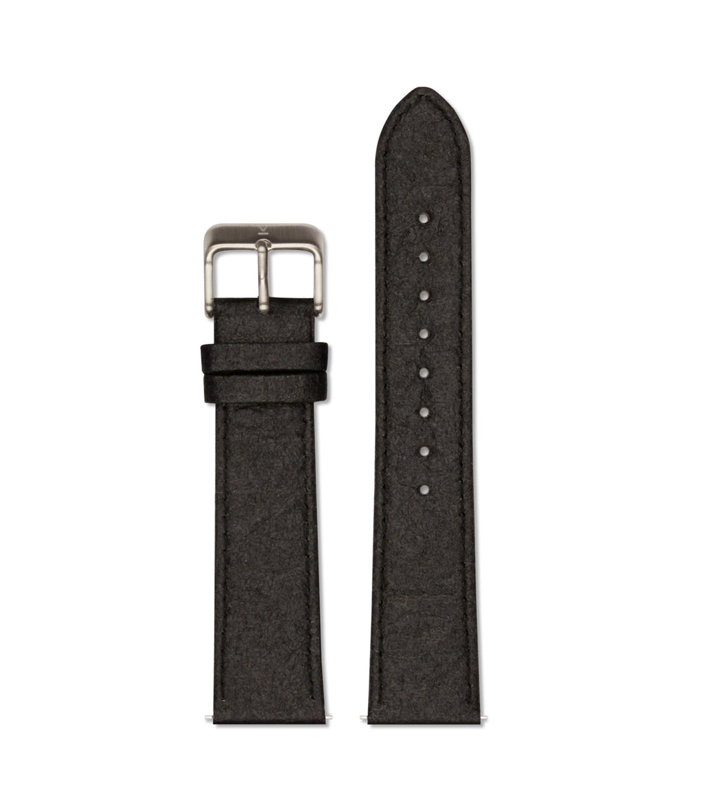 Piñatex Black with brushed silver buckle | 20mm