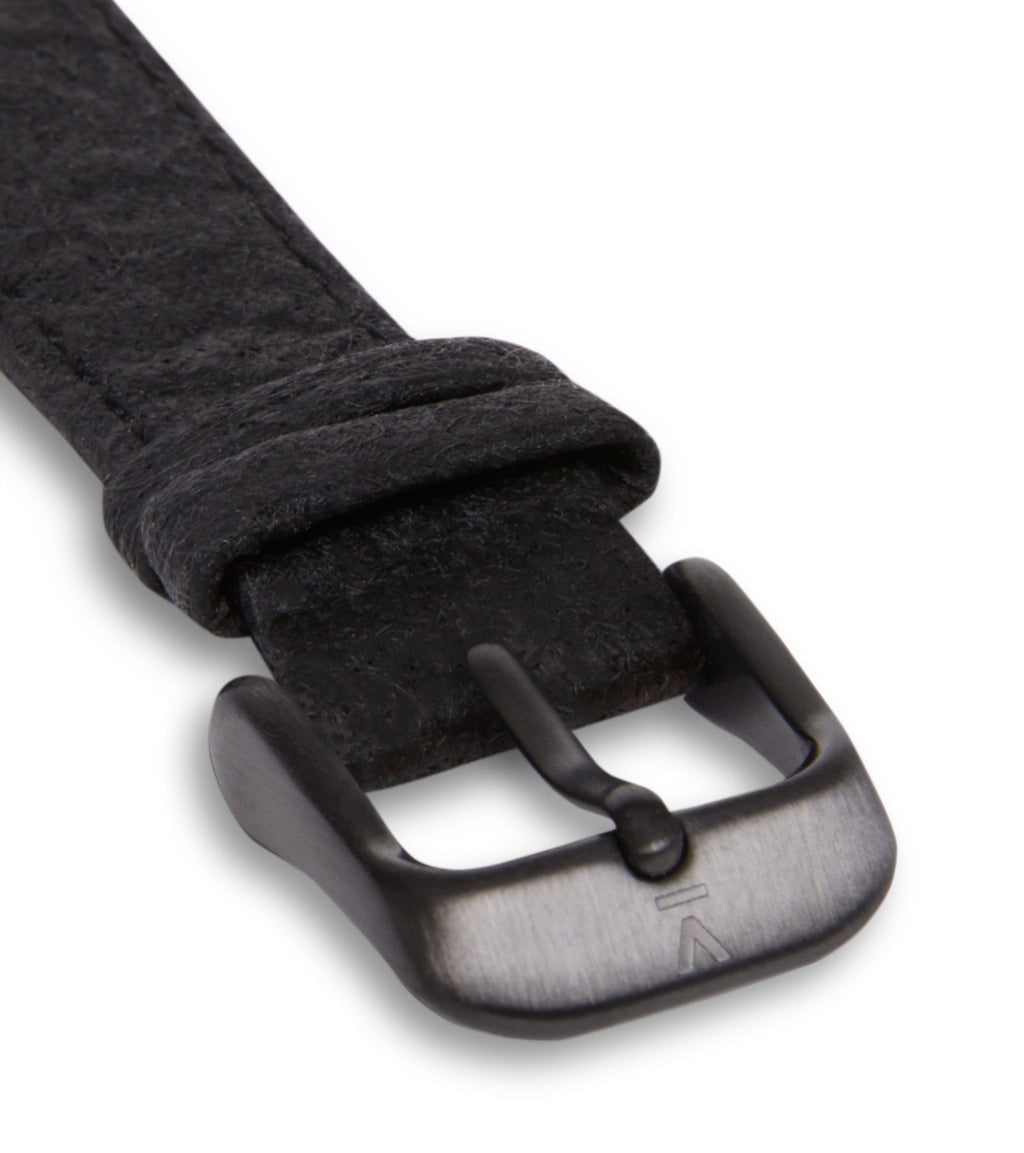 Piñatex Black with brushed black buckle | 16mm