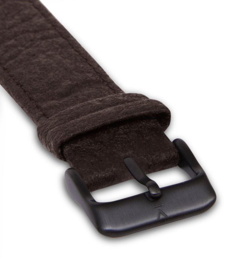 Piñatex Dark Brown with brushed black buckle | 20mm
