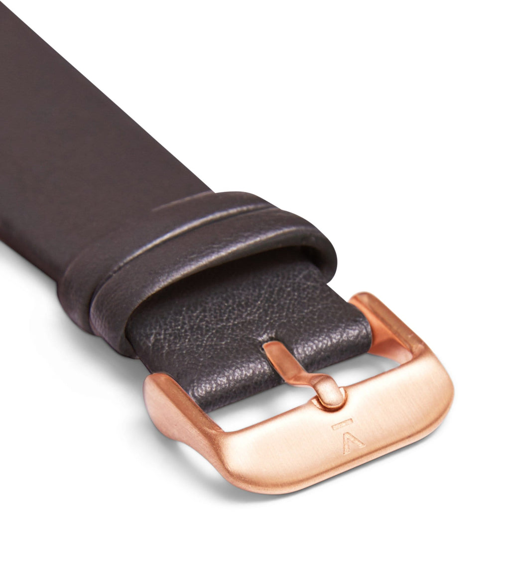 Dark grey with brushed rose gold buckle | 20mm