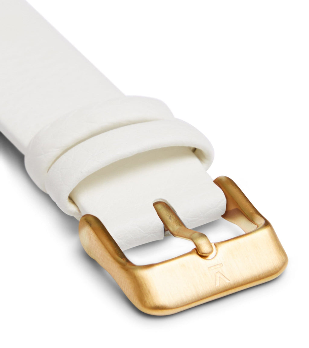 Off white with brushed gold buckle | 18mm