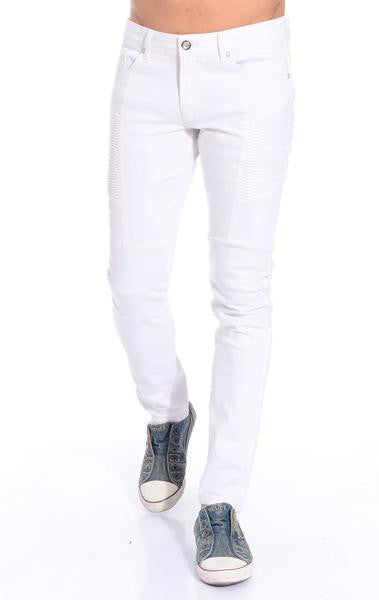 Ron Tomson White Skinny Washed Distressed Moto Jeans - Denim Jeans - denimkratos