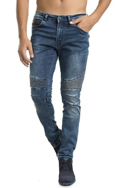 Ron Tomson Navy Blue Quilted Skinny Washed Moto Jeans - Denim Jeans - denimkratos