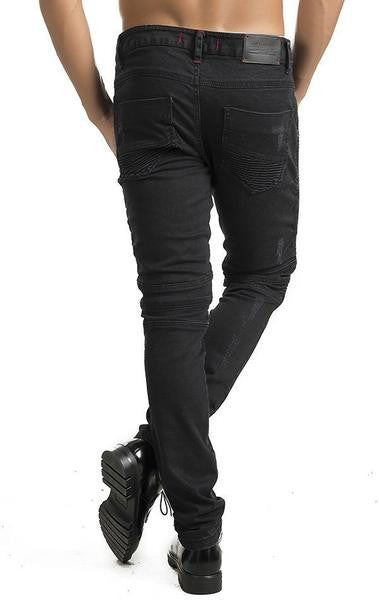 Ron Tomson Black Side Quilted Skinny Washed Moto Jeans - Denim Jeans - denimkratos