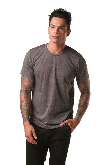 Poseidon Asphalt Burnout Crew Neck Cotton Tee - Tees - denimkratos