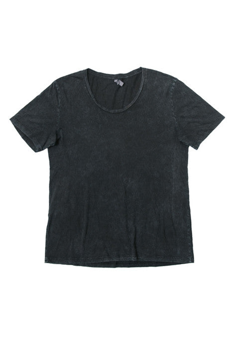 Poseidon Black Mineral Wash Wide Neck Cotton Tee - Tees - denimkratos