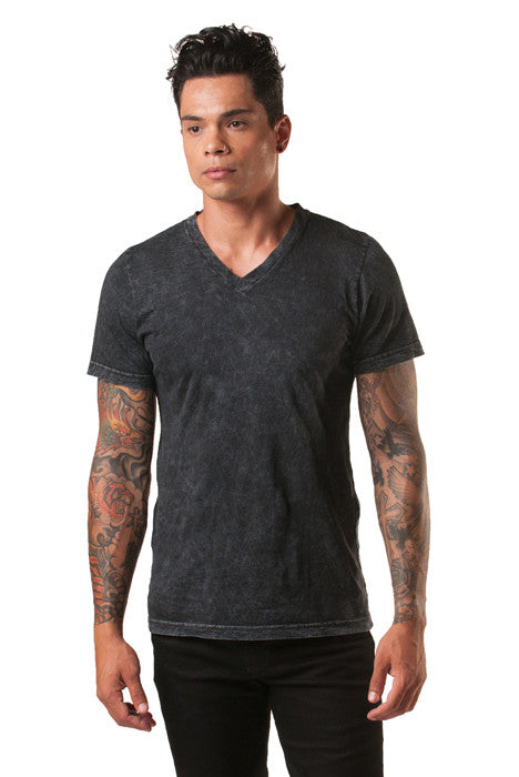 Poseidon Black Mineral Wash V-Neck Cotton Tee - Tees - denimkratos