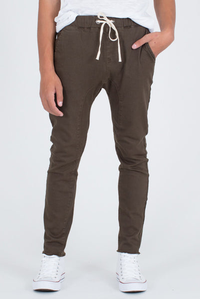 :DOK FACE Draw String Army Green Denim Joggers - Denim Jeans - denimkratos
