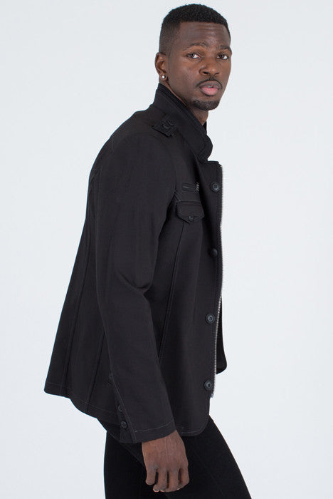 Ron Tomson Black Epaulette Shoulder Jacket - Jacket - denimkratos