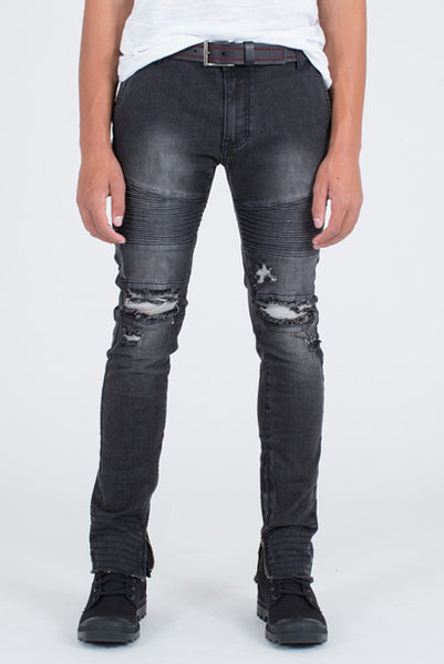 Moto Skinny Fit Black Denim Jeans - Denim Jeans - denimkratos