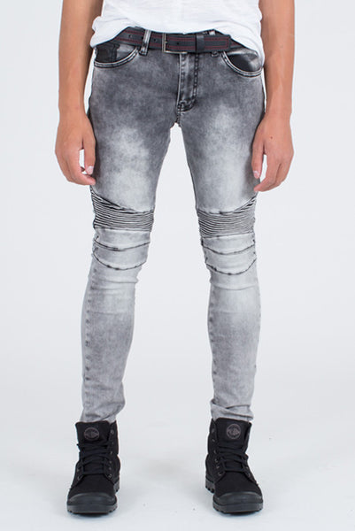 Ron Tomson Grey-Black Quilted Skinny Washed Moto Jeans - Denim Jeans - denimkratos