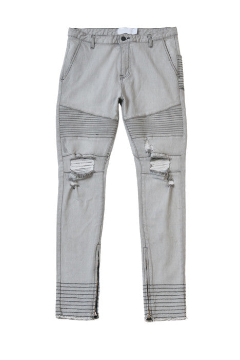 Moto Skinny Fit Gray Denim Jeans - Denim Jeans - denimkratos