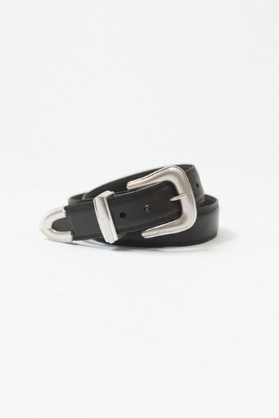 Lone Rider Black Leather Belt - Belts - denimkratos