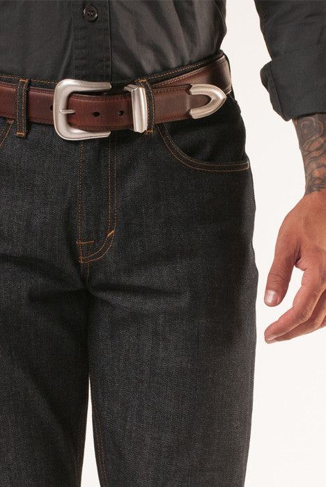 Lone Rider Brown Leather Belt - Belts - denimkratos