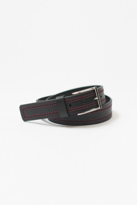 Triple Clutch Black Full Grain Leather Belt - Belts - denimkratos