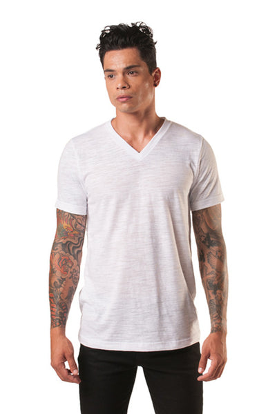 Poseidon White Slub V-Neck Cotton Tee - Tees - denimkratos