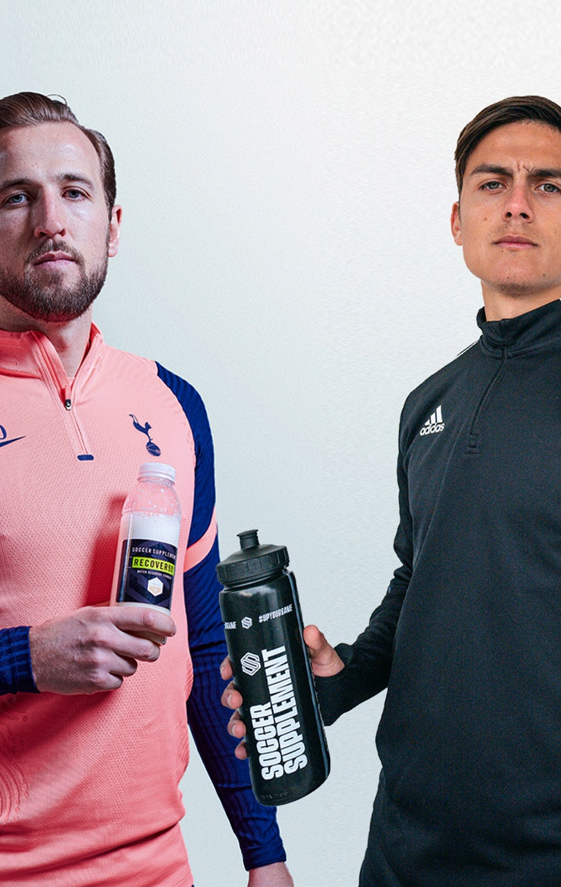 Harry Kane and Paulo Dybala, Football supplements, Energy Gel, Protein, Vitamins, Drinks