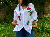 Rose white shirt top