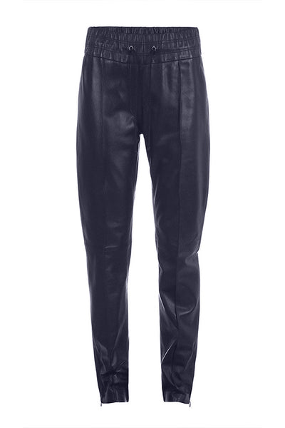 Navy Leather Joggers